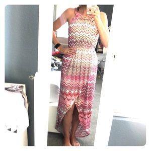 Jennifer Lopez Jersey High Low maxi dress pink